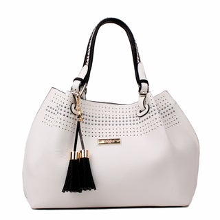 Nikky by Nicole Lee Starr White Faux Leather Satchel Handbag