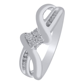 10k White Gold 1/7ct TDW Diamond Classy Promise Ring