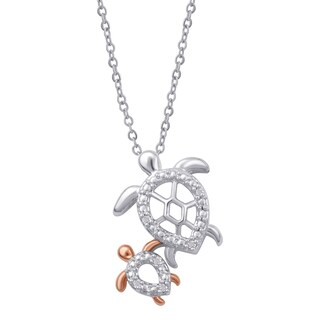 Divina Twotone Diamond Accent Mom and Child Turtle Pendant