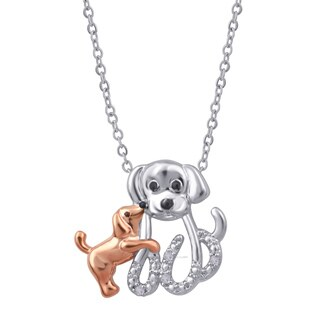 Divina Twotone Diamond Accent Mom and Child Dog Pendant