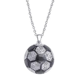 Divina Silver Overlay Diamond Accent Soccer Ball Pendant