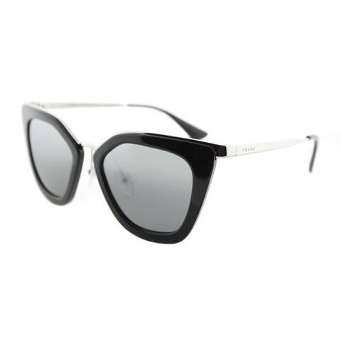 23363ce322 Prada PR 53SS 1AB6N2 Cinema Black Silver Plastic Cat-Eye Sunglasses Silver  Mirrored Gradient Lens