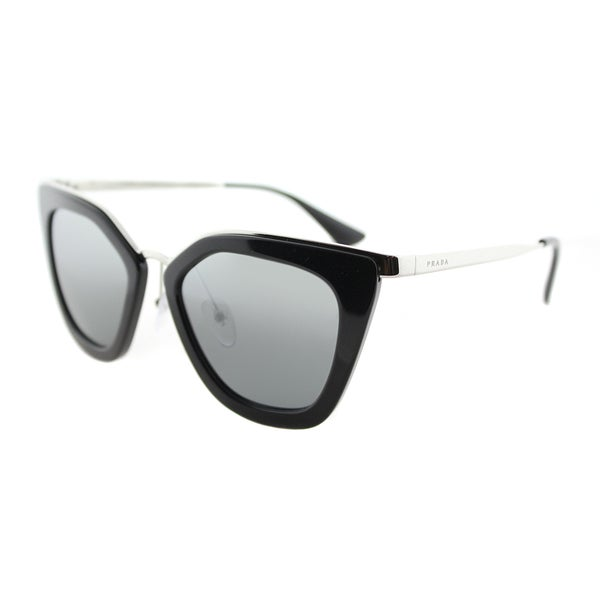 06bf525ec9e Prada PR 53SS 1AB6N2 Cinema Black Silver Plastic Cat-Eye Sunglasses Silver  Mirrored Gradient Lens
