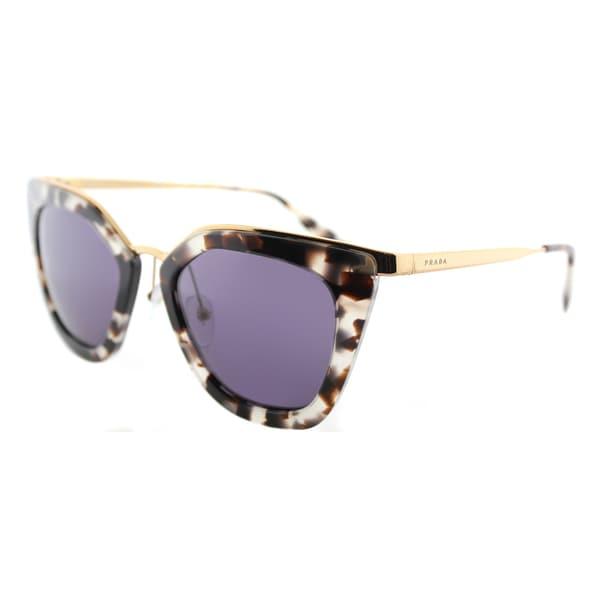 9dd6a610009a2 Prada PR 53SS UAO6O2 Cinema White Havana Plastic Cat-Eye Sunglasses Violet  Lens
