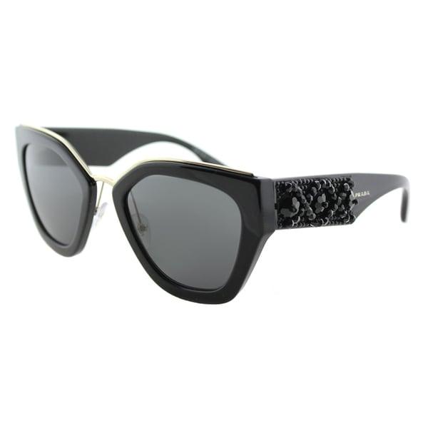 3b00ea67e52f Prada PR 10TS 1AB5S0 Ornate Black Plastic Cat-Eye Sunglasses Grey Lens