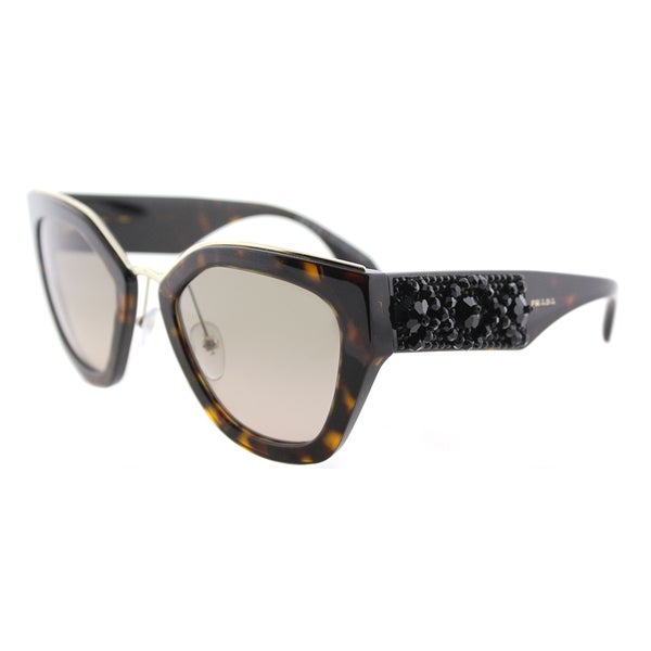 dd7a16fb389 Prada PR 10TS 2AU3D0 Ornate Havana Plastic Cat-Eye Sunglasses Brown Gradient  Lens