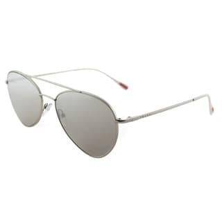 Prada Linea Rossa PS 50SS 1AP2B0 Pilot Matte Silver Metal Aviator Sunglasses Silver Mirror Lens