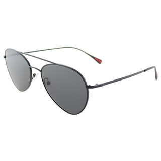 Prada Linea Rossa PS 50SS 7AX5S0 Pilot Black Metal Aviator Sunglasses Grey Lens