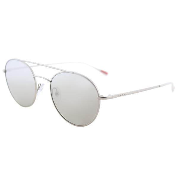 c3569ef0f5a6 Prada Linea Rossa PS 51SS 1AP2B0 Panthos Matte Silver Metal Round Sunglasses  Silver Mirror Lens