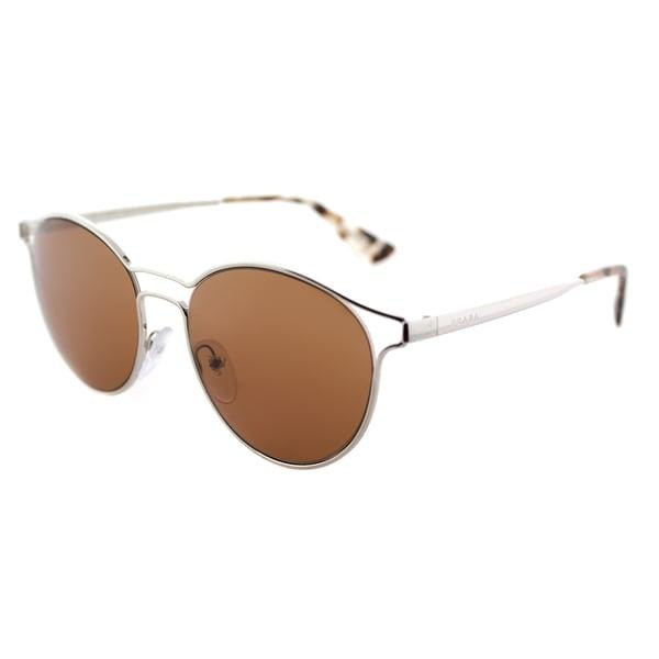 79549827c Shop Prada PR 62SS 1BC6N0 Cinema Silver Metal Round Sunglasses Brown ...