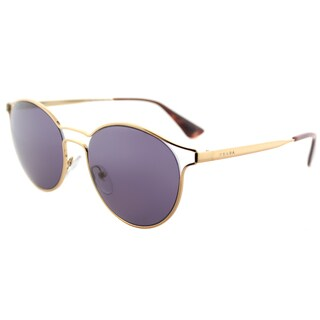Prada PR 62SS 7OE6O2 Cinema Antique Gold Metal Round Sunglasses Violet Lens