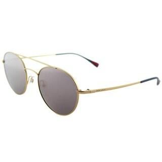 Prada Linea Rossa PS 51SS 1BK5T0 Panthos Matte Gold Metal Round Sunglasses Pink Mirror Lens