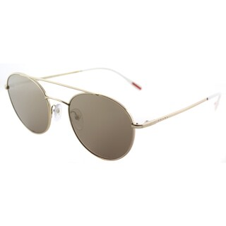 Prada Linea Rossa PS 51SS ZVN1C0 Panthos Pale Gold Metal Round Sunglasses Gold Mirror Lens