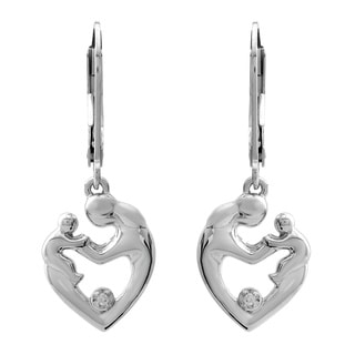 Sterling Silver Diamond Accent Mother and Child Heart Earrings
