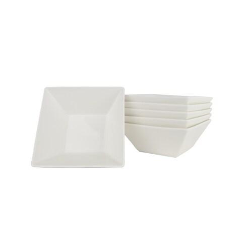 Soho White Square 6.75-inch Cereal Bowl (Set of 6)