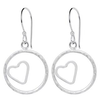 Essence Jewelry 925 Sterling Silver 'Heart In Circle' Dangle Earrings