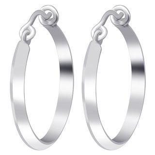 Essence Jewelry Sterling Silver High Polished 25 mm Round Hoop Earrings