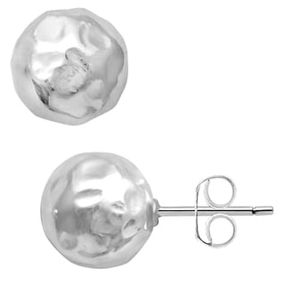 Essence Jewelry 925 Sterling Silver 10 mm Hammered Ball Bead Stud Earrings