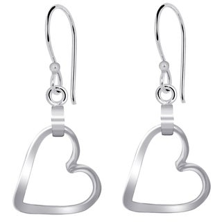 Essence Jewelry Solid Silver Hoop Earrings With Dangling Lovely Hearts