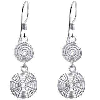 Essence Jewelry 925 Sterling Silver 2-Tier Spiral Dangle Hook Earrings