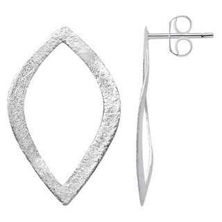 Essence Jewelry Sterling Silver Textured Marquise Shape Cutout Stud Earrings