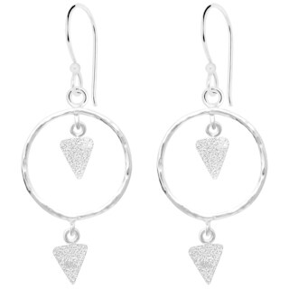 Essence Jewelry Circle & Triangle Textured Sterling Silver 2-Tier Dangle Earrings