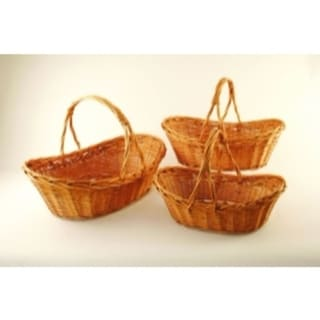 Wald Imports Brown Large Set Of 3 Willow Baskets