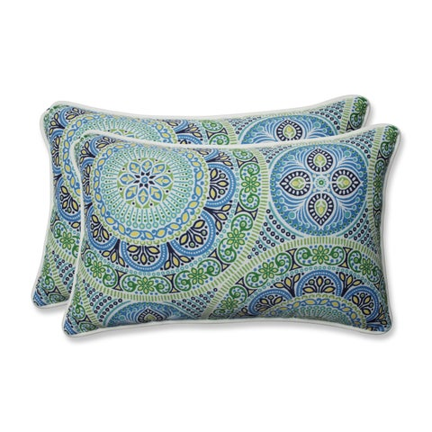 Pillow Perfect Outdoor/ Indoor Delancey Lagoon Rectangular Throw Pillow (Set of 2)