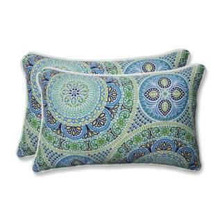 Pillow Perfect Outdoor/ Indoor Delancey Lagoon Rectangular Throw Pillow (Set of 2)