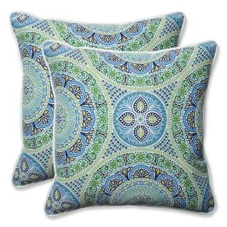 Pillow Perfect Outdoor/ Indoor Delancey Lagoon 18.5-inch Throw Pillow (Set of 2)