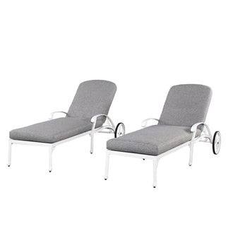 Home Styles Floral Blossom White Chaise Lounge Chairs w/ Cushions (2)