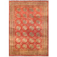 Herat Oriental Afghan Hand-knotted Vegetable Dye Turkoman Wool Rug (9'8 x 13'8)