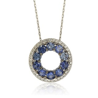 Suzy Levian Sterling Silver Blue and White Sapphire & Diamond Accent Double Circle Eternity Pendant
