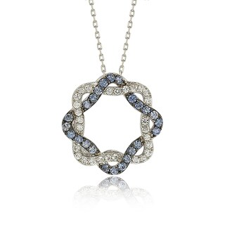 Suzy Levian Sterling Silver Blue & White Sapphire & Diamond Accent Whimsical Circle Pendant