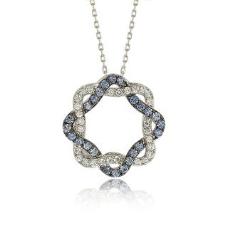 Suzy Levian Sterling Silver Blue & White Sapphire & Diamond Accent Whimsical Circle Pendant https://ak1.ostkcdn.com/images/products/14678541/P21212815.jpg?impolicy=medium