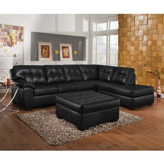 Shikura Onyx Leather Sectional Sofa Set With Ottoman