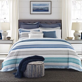 Tommy Hilfiger Westbourne White and Blue Stripe 3-Piece Comforter Set