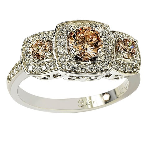 Suzy Levian Sterling Silver Cubic Zirconia Brown Three Stones Halo Engagement Ring - Brown/White