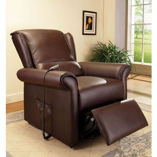 Emari Traditional Dark Brown Faux Leather Power Recliner
