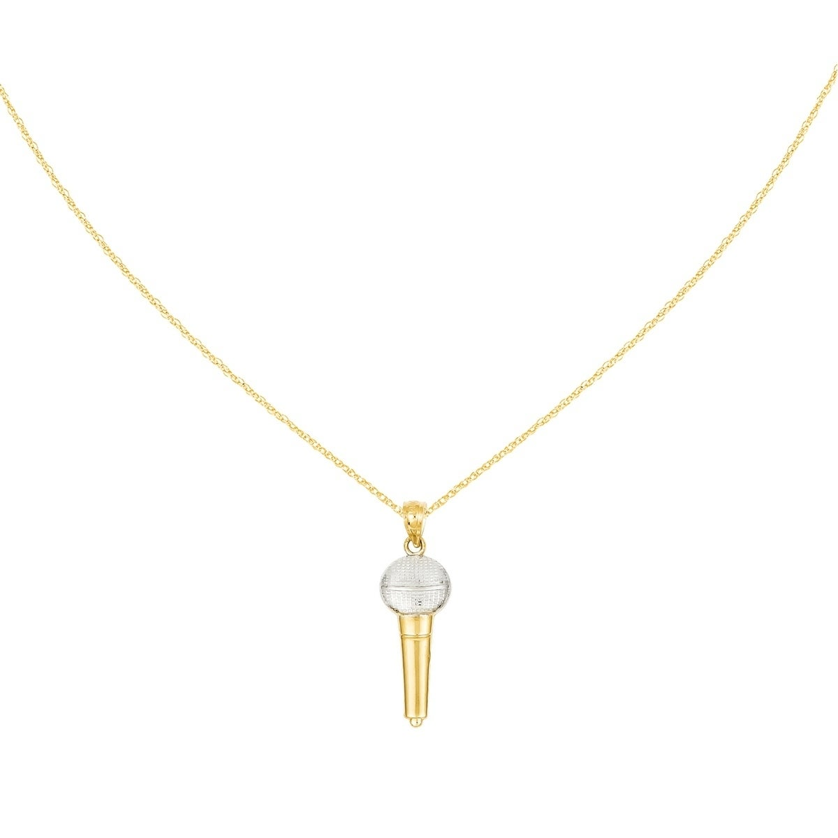 Versil 14 Karat Yellow Gold Microphone Pendant with 18 In...