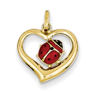 Versil 14 Karat Enameled Ladybug In Heart Charm By Versil W 18 Inch Cable Chain