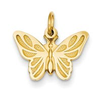 14 Karat Yellow Gold Butterfly Charm with 18-inch Chain