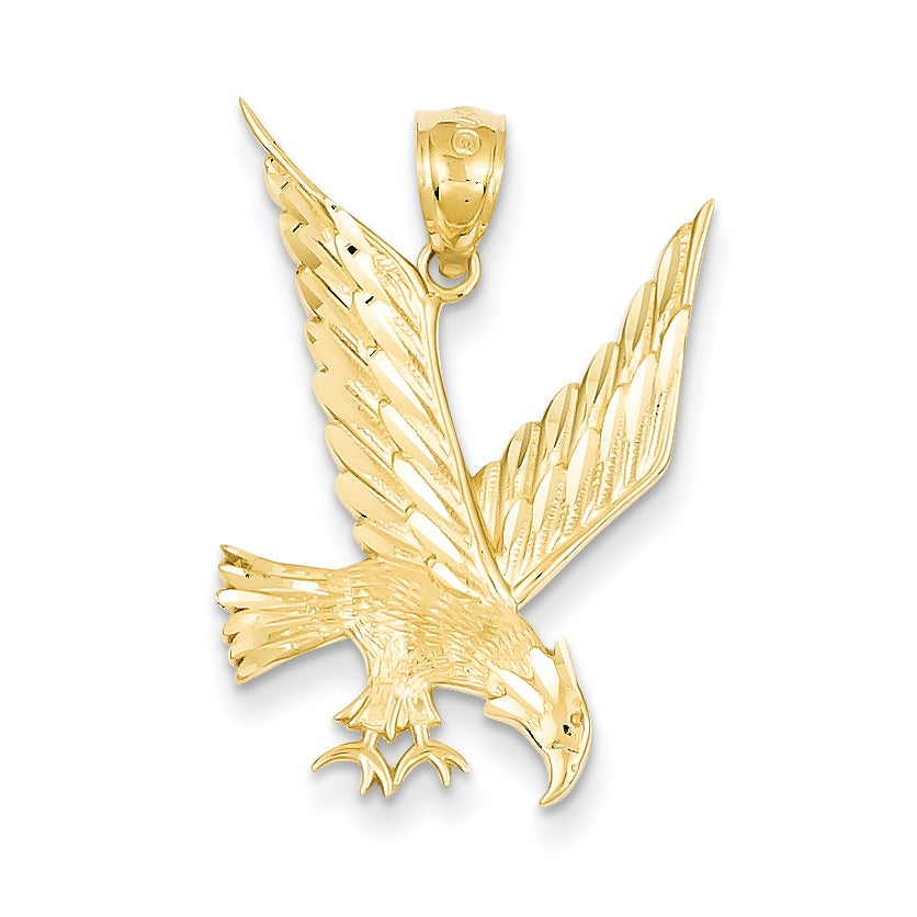 Versil 14 Karat Yellow Gold Diamond Cut Eagle Pendant wit...
