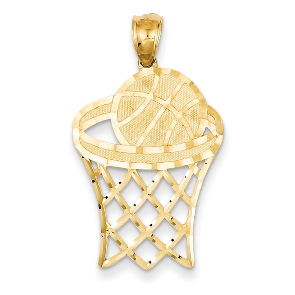 Shop Versil 14 Karat YG Basketball in Hoop Diamond-cut Pendant with 18-inch  Chain - On Sale - Free Shipping Today - Overstock.com - 14678662 3ff9d5936457