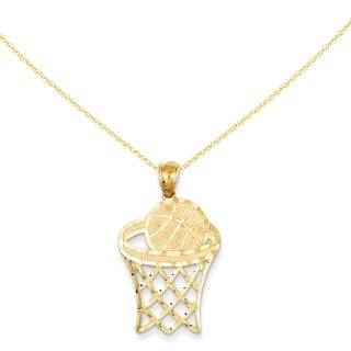 14 Karat YG Basketball in Hoop Diamond-cut Pendant with 18-inch Chain
