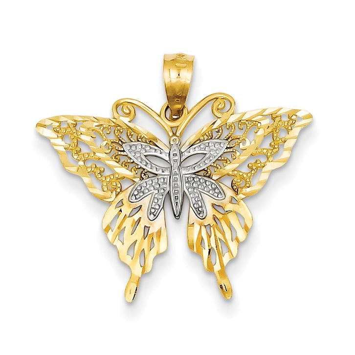 14k Yellow with White Rhodium Two-tone Gold Butterfly Pendant
