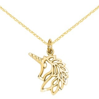 14k Yellow Gold Unicorns Head Pendant with 18-inch Chain