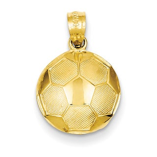 14 Karat Yellow Gold Soccer Ball Pendant with 18-inch Chain