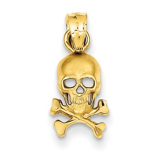 14 Karat Gold Skull and Cross Bones Pendant with 18-inch Chain