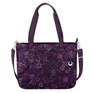 Travelon Anti-Theft Boho Wine Rose Tote Bag